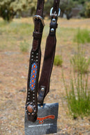 "Circle Y 5/8"" One Ear Headstall Beaded Inlay Copper Conchos-Turquoise/Orange/Red"