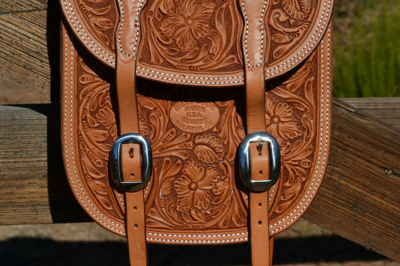 Close Up Right Side View Billy Cook Beautiful hand carved Sheridan Floral Tooled Western Saddle Bags. Deeply carved on light russet leather with latigo leather gusset pocket.