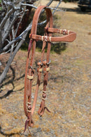 "Jose Ortiz 5/8"" Shape Browband Headstall with Natural Hand Braided Rawhide Buttons with Brown details.  Constructed of single-ply Hermann Oak conditioned harness leather with hand rubbed edges."