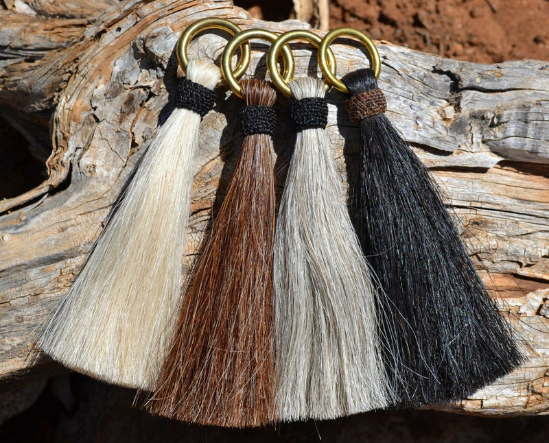 "Close Up View Various Colors  6"" -  Shu-fly tassels with Brass Ring.  Handmade from 100% natural mane horsehair in natural horsehair colors."