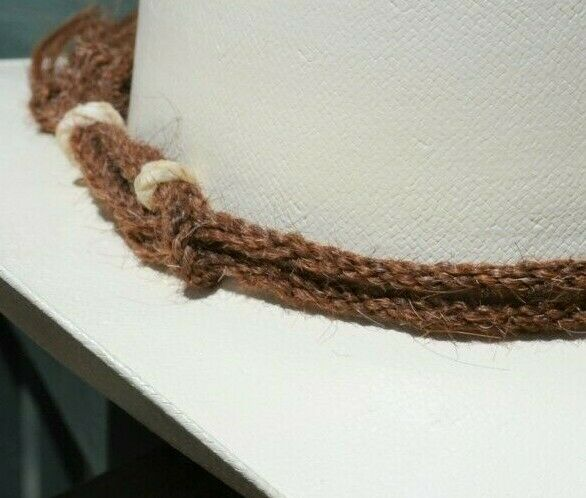 Detail View Beautiful Jose Ortiz Traditional Double Strand Hand Twisted Horsehair Hatband with Rawhide Knots.  Made from 2 strands of chestnut twisted horsehair.