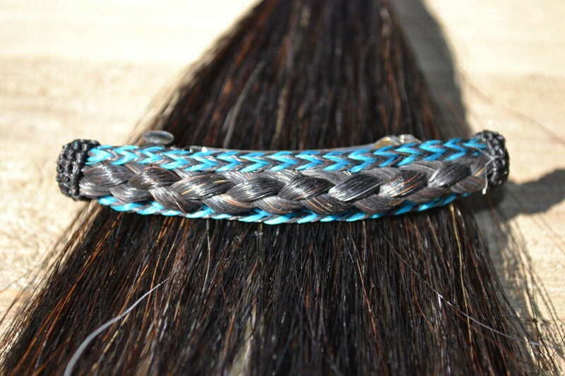 "Close Up View Awesome 5/8"" wide x 4"" long, French Braided Natural Horsehair Barrette. Black/Turquoise/Black"