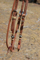 "Jose Ortiz 5/8"" Shape Browband Headstall with Natural Hand Braided Rawhide Buttons with black details.  Constructed of single-ply Hermann Oak conditioned harness leather with hand rubbed edges."