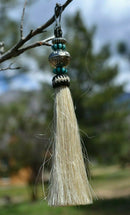 "Close Up View 4 1/2"" total length horsehair zipper pull with spring clip. Handmade horsehair various colors and beading pattern. White-Turquoise/RB/Turquoise"
