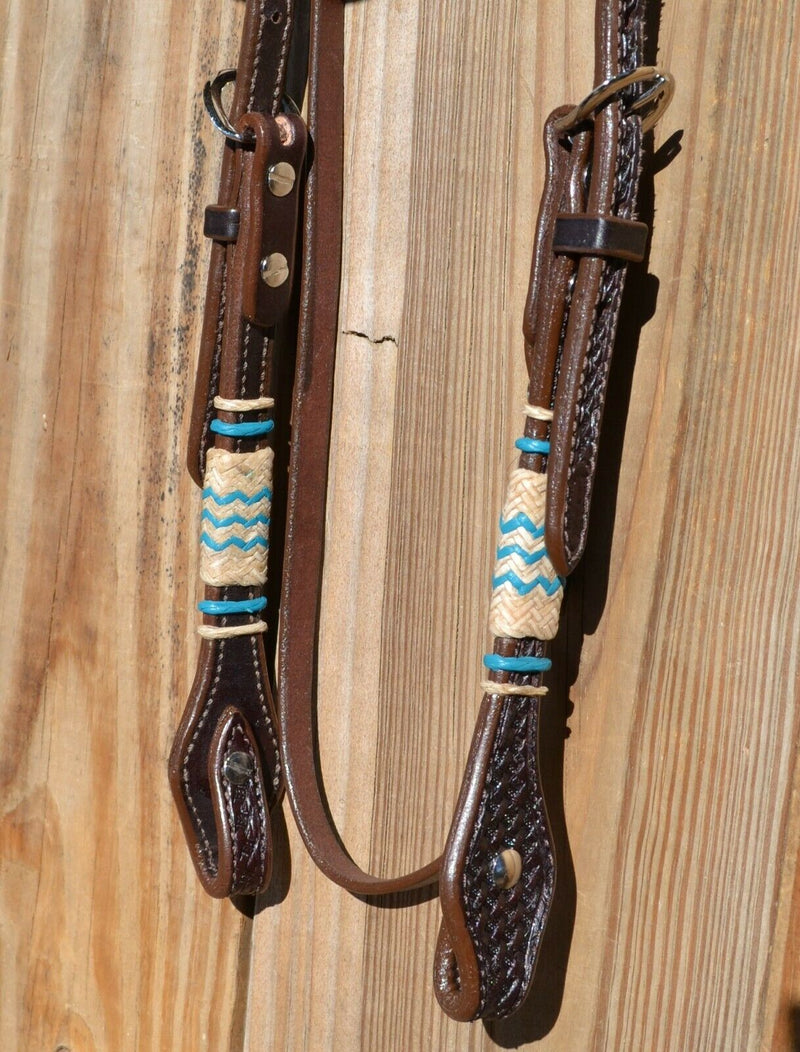Jose Ortiz Dark Oil Straight Brow Headstall w/Natural & Turquoise Rawhide
