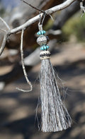 "Close Up View 4 1/2"" total length horsehair zipper pull with spring clip. Handmade horsehair various colors and beading pattern. Grey-Turquoise/RB/Turquoise"
