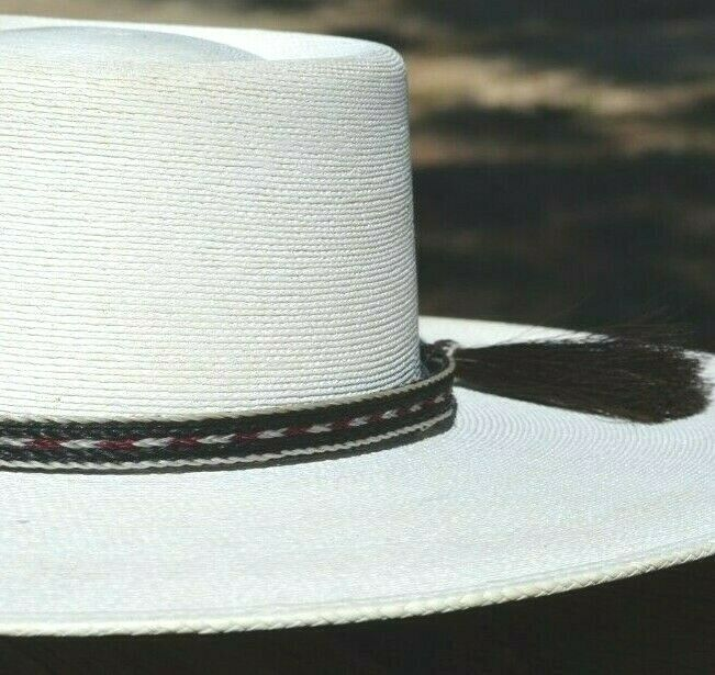 "Close Up Beautiful 1/2"" 5 Strand Horsehair Hatband.  Made from 5 strands of  white, burgundy and black braided horsehair."