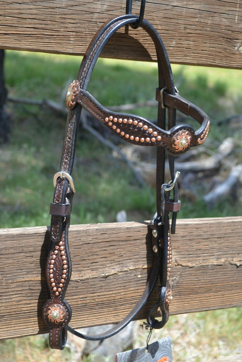 "Front View 5/8"" Straight Shaped Browband Headstall  with Antiqued Engraved Copper Buckles and Conchos at bit ends.  Dark chocolate brow bridle leather with removable buckles."