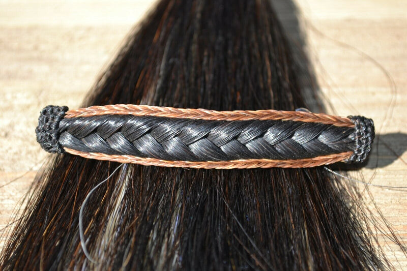 "Close Up View Awesome 5/8"" wide x 4"" long, French Braided Natural Horsehair Barrette. Chestnut/Black"