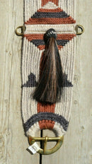 close up jose ortiz vaquero brand vaquero style 27 strand mohair cinch shu fly tassel black, brown natural mohair brass buckles