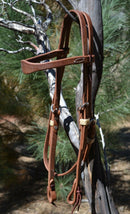 "Jose Ortiz 5/8"" Harness Leather Shape Browband Headstall.  Constructed of hard working single-ply Hermann Oak conditioned harness leather with hand rubbed edges."