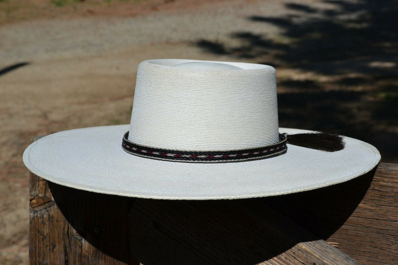 "Beautiful 1/2"" 5 Strand Horsehair Hatband.  Made from 5 strands of  white, burgundy and black braided horsehair."