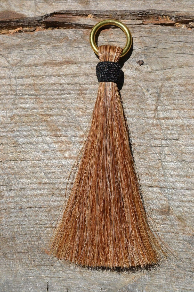 "Close Up View 6"" - Shu-fly tassels with Brass Ring. Handmade from 100% natural mane horsehair in natural horsehair colors.          Sorrel"
