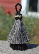 "Close Up View 3"" two Bell mule tail cut natural and brightly colored tassels. Handmade from horsehair dyed in bright colors as well as natural.    Grey/Black"
