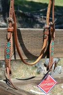 "Close Up Bit Ends Front View Reinsman by Circle Y of Yoakum - Molly Powell 2"" Rough Out Leather Browband Headstall with Turquoise Rawhide Lacing and Copper Conchos and alternating antiqued and copper spots."