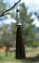 "Close Up View 4 1/2"" total length horsehair zipper pull with spring clip. Handmade horsehair various colors and beading pattern. Black-Silver"