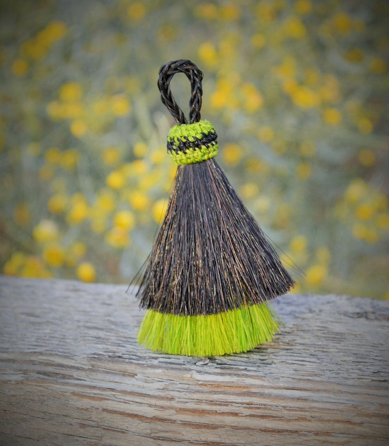 "Close Up View 3"" two Bell mule tail cut natural and brightly colored tassels. Handmade from horsehair dyed in bright colors as well as natural.    Black/Lime"