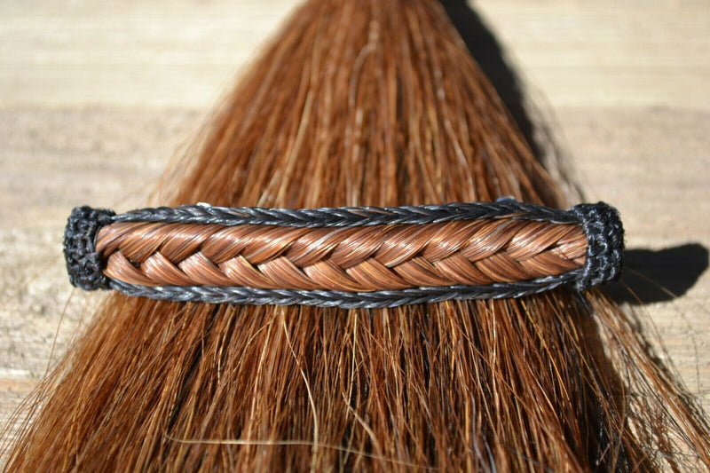 "Close Up View Awesome 5/8"" wide x 4"" long, French Braided Natural Horsehair Barrette. Black/Chestnut"
