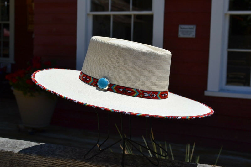 "Atwood Hat Company - 3.5"" Flat Brim Santa Fe Nevada - Long Oval - 15X Palm Leaf - Red thunderbird hat hatband with turquoise colored stone concho and matching edge binding."