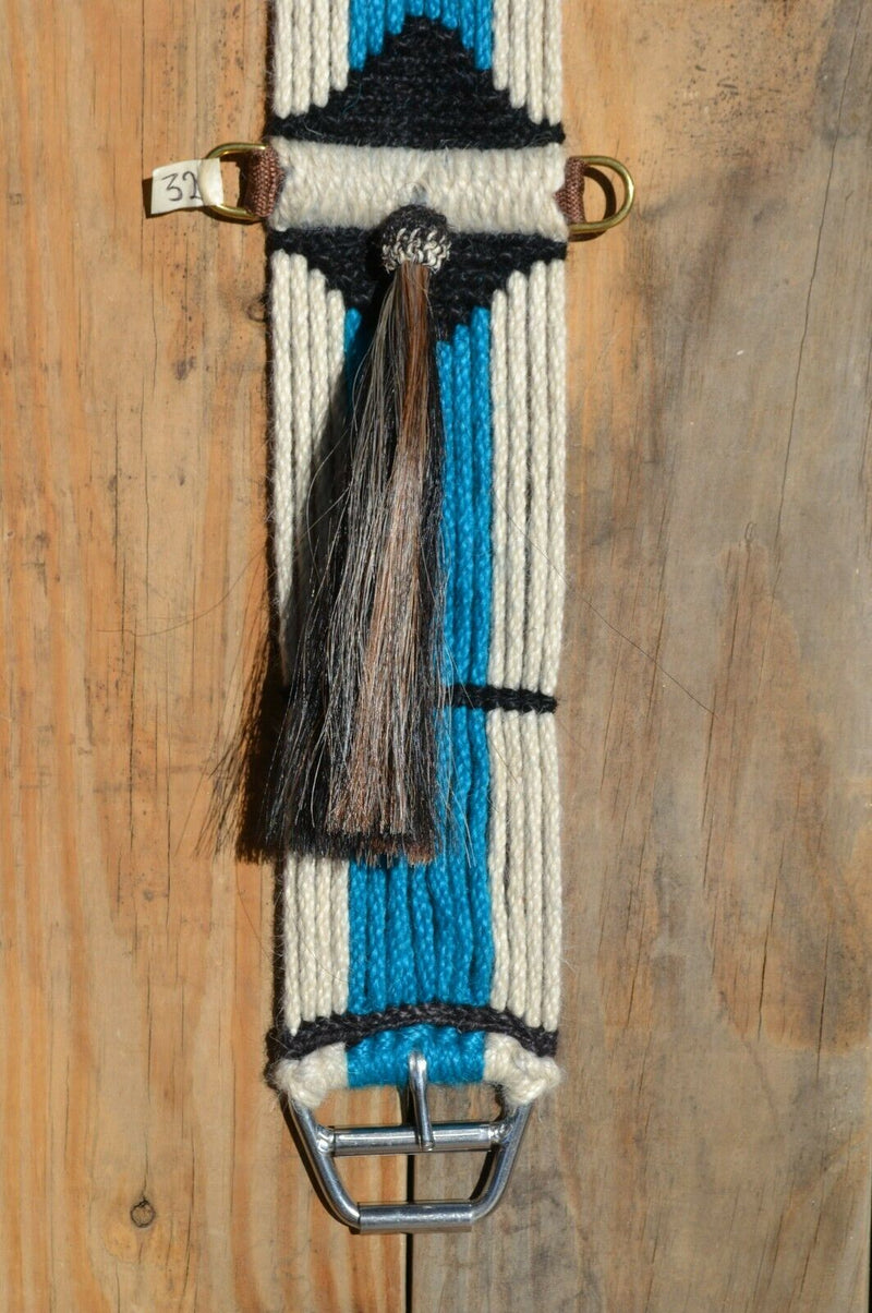 "Close Up View Horsehair Shu-fly Tassel Jose Ortiz - Vaquero Brand - 100% Mohair Cinch/Cincha made in the Vaquero style with shu-fly.    This narrower cinch is 32"" long end to end, single layer 16 strands and 4 1/2"" wide at the widest point.  Hand made from 100% natural mohair in natural, turquoise and black colors."