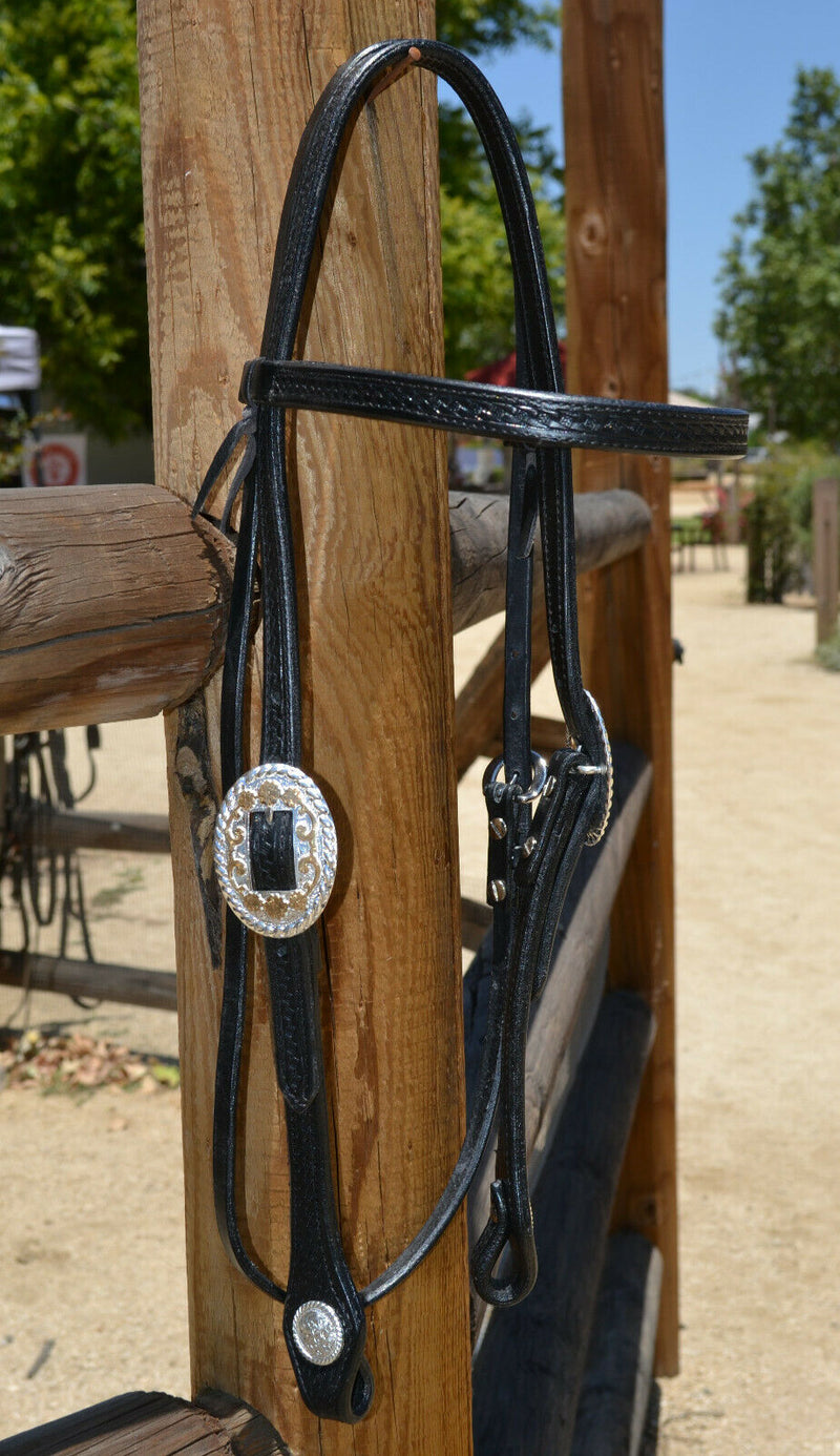 "Jose Ortiz 5/8"" Straight Browband Headstall.  Constructed of two-ply and stitched black finished leather.  Hand carved with Jose's signature basket weave tooling."