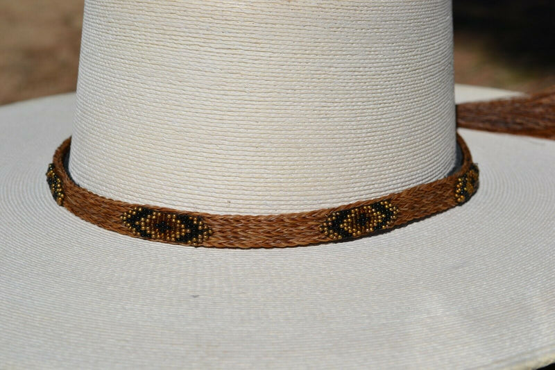 "Close Up Beautiful 1/2"" Hand Made Beaded Hatband with Southwest Style Beading.  Made from 5 strands of chestnut braided horsehair with copper/brown beaded overlay."