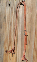 "Jose Ortiz 3/4"" One/Single Split Ear Headstall.  Constructed of single-ply natural harness leather with natural rawhide buck stitching.   Removable stainless steel buckle and latigo ties the bit ends."