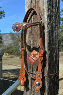 Left Side View Billy Cook Shape/Scalloped Browband Cowboy Headstall with Conchos and Spots.  Made from chestnut colored leather, two-ply and stitched with wheat color stitchting.