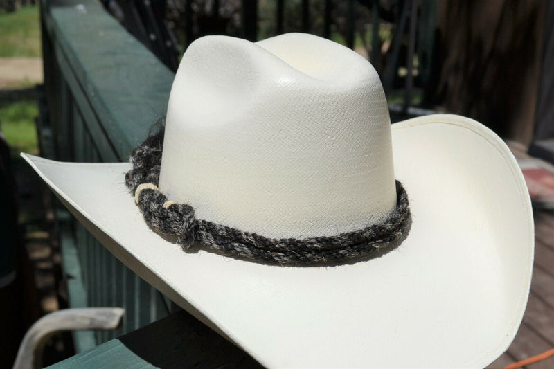 Beautiful Jose Ortiz Traditional Double Strand Hand Twisted Horsehair Hatband with Rawhide Knots.  Made from 2 strands of black and grey twisted horsehair.