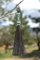 "Close Up View 4 1/2"" total length horsehair zipper pull with spring clip. Handmade horsehair various colors and beading pattern. Black-Turquoise/Silver/Turquoise"