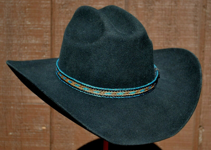 "5/8"" Western Braided Horse Hair Hat Band Adjustable - Turquoise/Black/Chestnut"