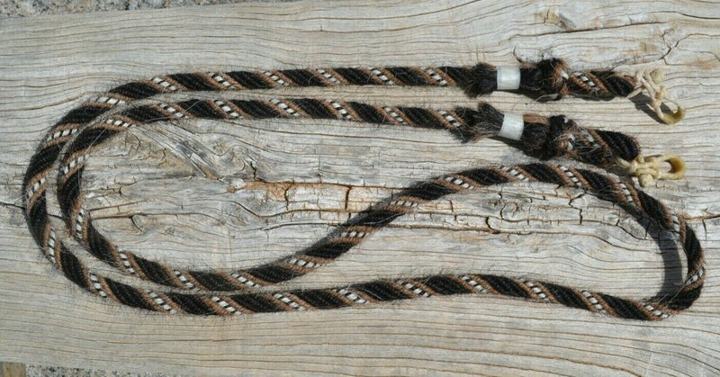 "Jose Ortiz handmade roping/loop reins - 5/8"", 6 strand, 8.5 foot length roping loop reins made from a combination of 6 tightly wound strands of black, sorrel (light chestnut), white & black natural mane hair."