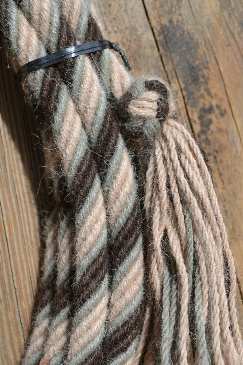 "1/2"" Alpaca Hair Mecate Rope Reins 6 Str x 22 ft - Tan, Mist Green, Dark Brown"