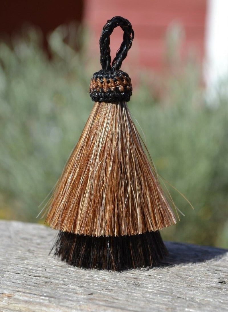"Close Up View 3"" two Bell mule tail cut natural and brightly colored tassels. Handmade from horsehair dyed in bright colors as well as natural.   Brown/Black"