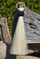 "Close Up View 6"" - Shu-fly tassels with Brass Ring. Handmade from 100% natural mane horsehair in natural horsehair colors.            White"