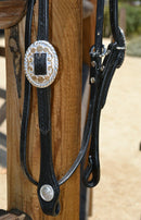 "Close Up View Jose Ortiz 5/8"" Straight Browband Headstall.  Constructed of two-ply and stitched black finished leather.  Hand carved with Jose's signature basket weave tooling."