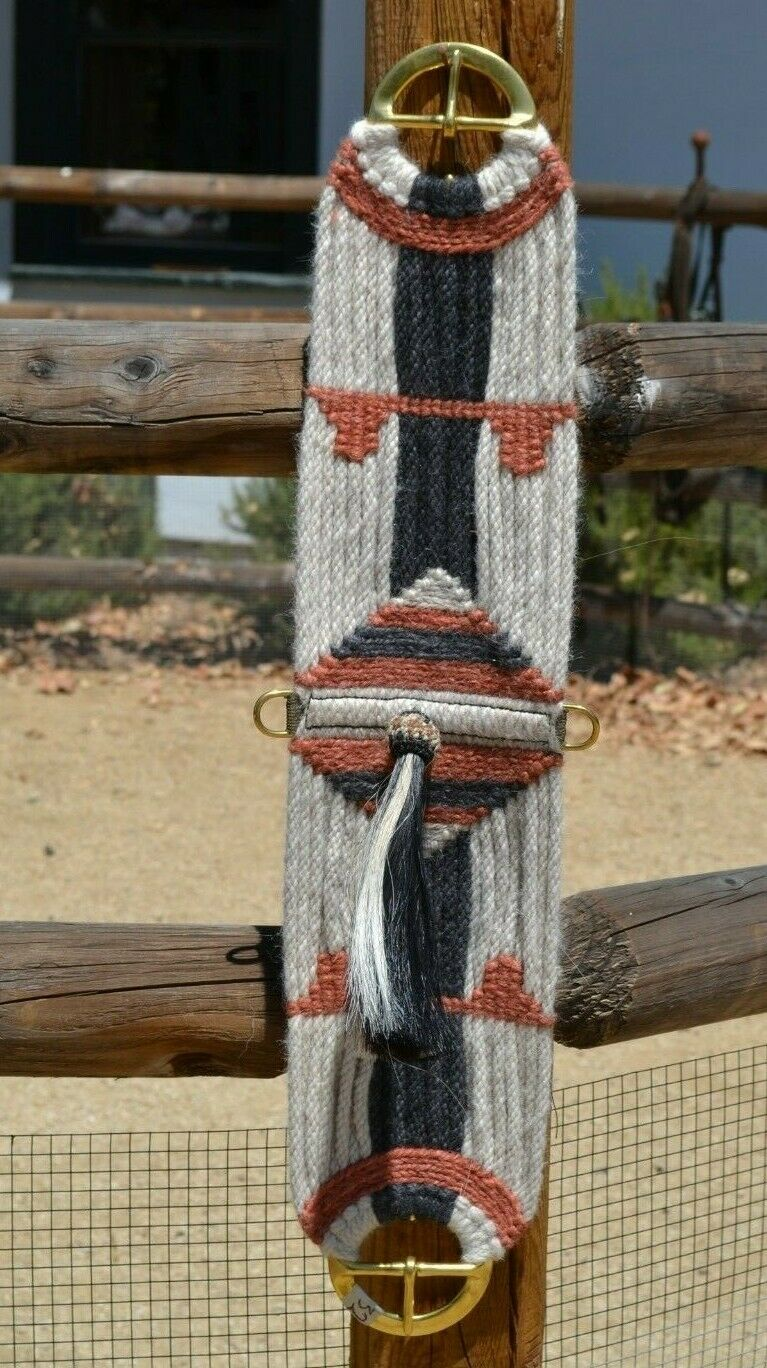 jose ortiz vaquero style 27 strand mohair cinch shu fly tassel natural rusty brown and black mohair brass buckles