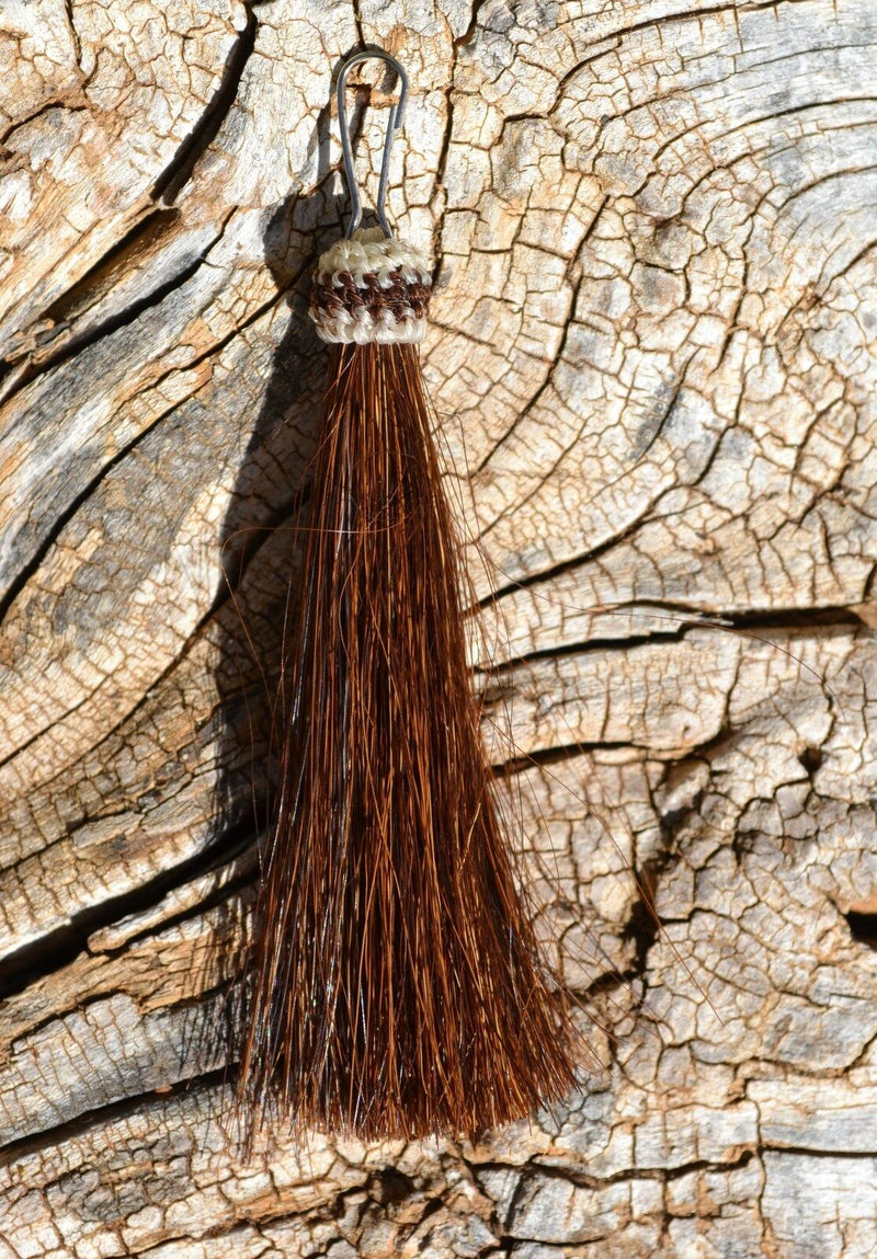 "Close Up View 3"" total length natural horsehair zipper pull with spring clip. Handmade from 100% natural mane horsehair. Chestnut"