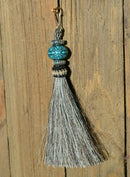 "Close Up View 4 1/2"" total length horsehair zipper pull with spring clip. Handmade horsehair various colors and beading pattern. Grey-Silver/RTurquoise/Silver"
