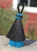 "Close Up View 3"" two Bell mule tail cut natural and brightly colored tassels. Handmade from horsehair dyed in bright colors as well as natural.     Black /Turquoise"