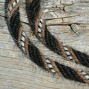 "Super Close Up View Jose Ortiz handmade roping/loop reins - 5/8"", 6 strand, 8.5 foot length roping loop reins made from a combination of 6 tightly wound strands of black, sorrel (light chestnut), white & black natural mane hair."