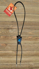 Western Style Black Braided Leather Bolo Tie with Thunderbird Slide with turquoise color stone and silver tips.