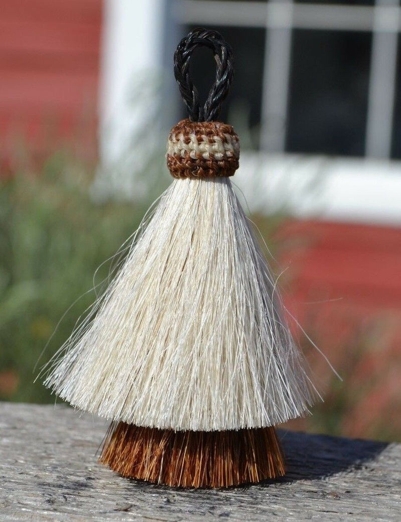 "Close Up View 3"" two Bell mule tail cut natural and brightly colored tassels. Handmade from horsehair dyed in bright colors as well as natural.    White/Brown"