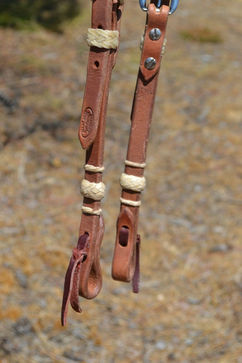 Jose Ortiz Harness Leather One Single Ear Headstall Braided Natural Rawhide