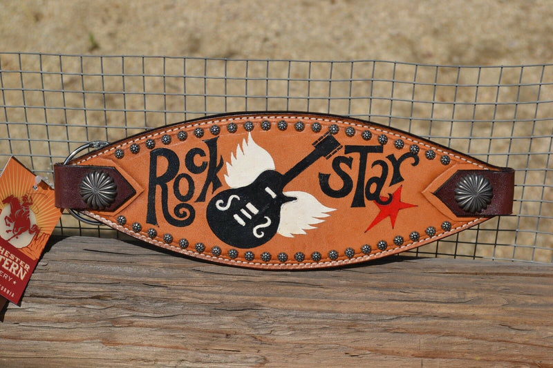 "Close Up View Bar H Equine Bronc Noseband with Painted ""Rock Star"" guitar motif and Sunspot Studs on the border."