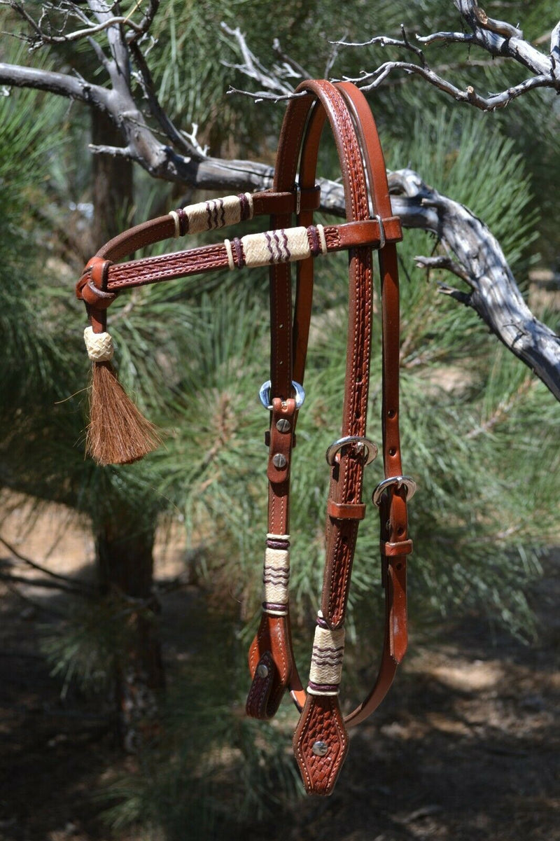 Jose Ortiz Chestnut Futurity Brow Headstall w/Natural/Latigo Rawhide- Chestnut