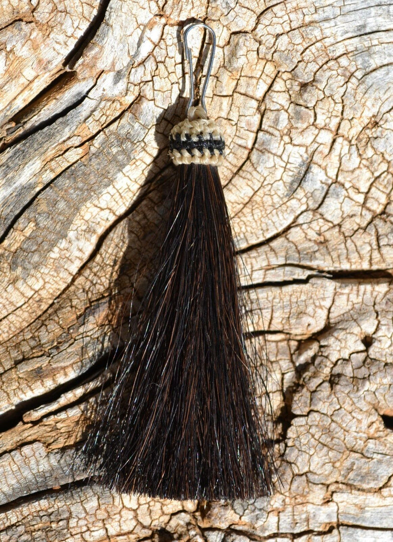 "Close Up View 3"" total length natural horsehair zipper pull with spring clip. Handmade from 100% natural mane horsehair. Black"