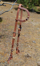 Jose Ortiz Harness Leather One Single Ear Headstall with Latigo Rawhide