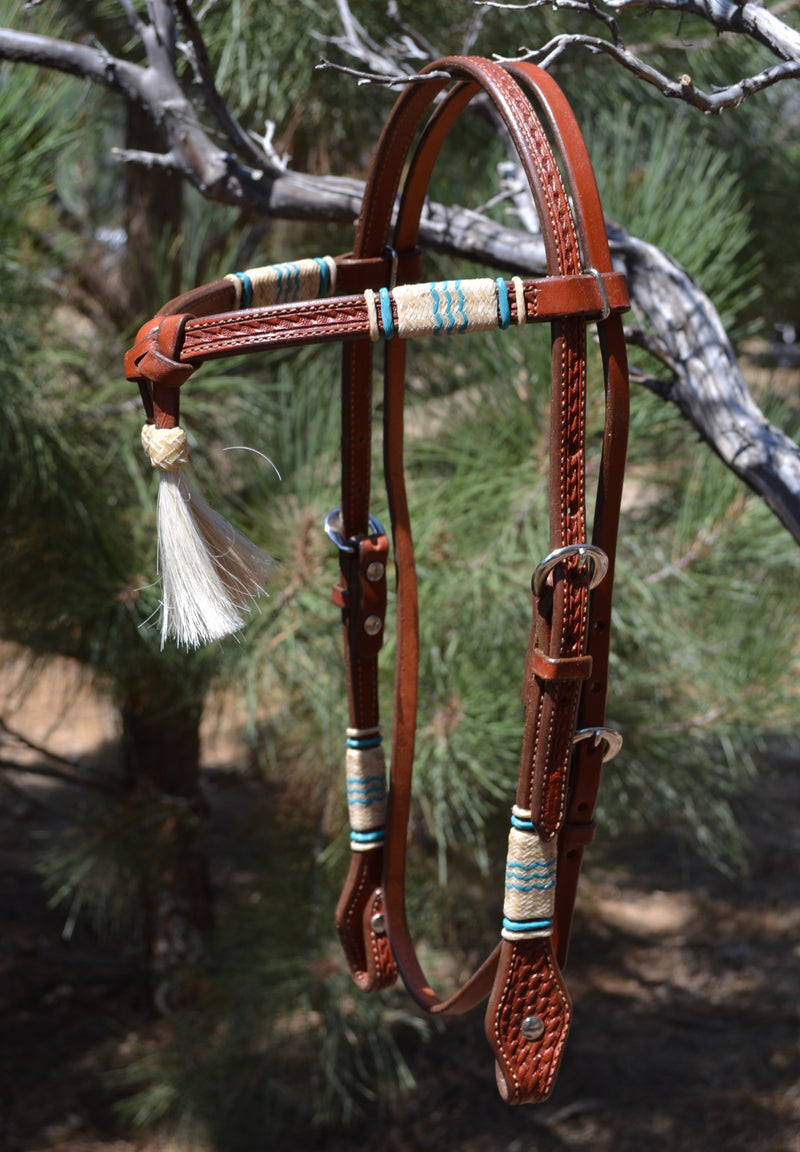"Jose Ortiz 5/8"" Futurity / Cross-Over Browband Headstall with White Horse Hair Tassels.  Constructed of two-ply and stitched medium chestnut oil finished leather."