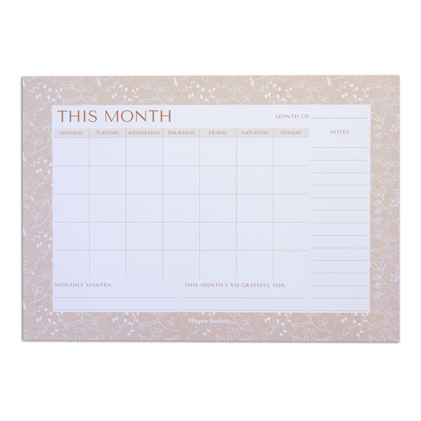 A4 MONTHLY PLANNER - Paper Society Stationery